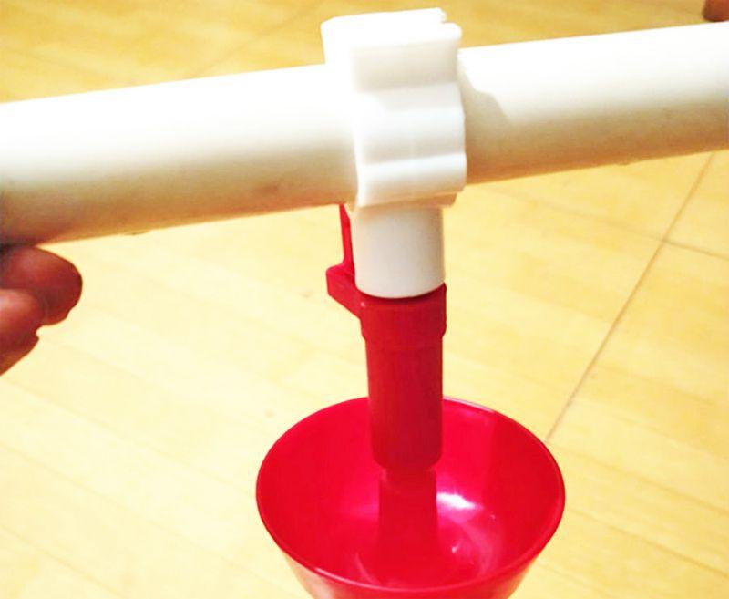 Việc lắp đặt núm uống nước cho gà con vô cùng đơn giản